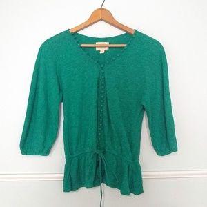 Anthropologie Deletta green cotton top EUC small